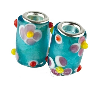 Picture of Pandora Style Bead - Tube Flower (Pk 2)