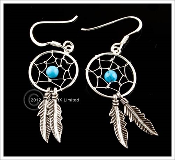 Picture of Turquoise Dream Catcher Earrings (Sterling Silver)