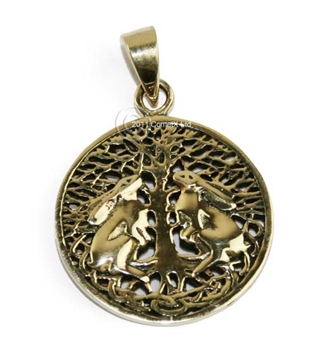 Picture of Moon Gazing Hare Pendant - Bronze