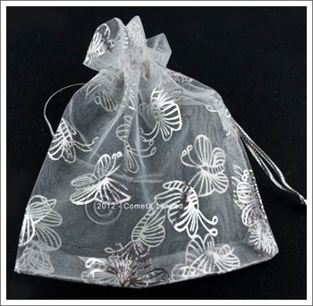 Picture of Organza pouch - Silver Butterfly (10x12cm)