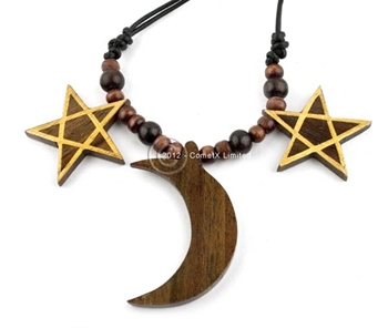 Picture of Pentagram And Moon Necklace - Wood
