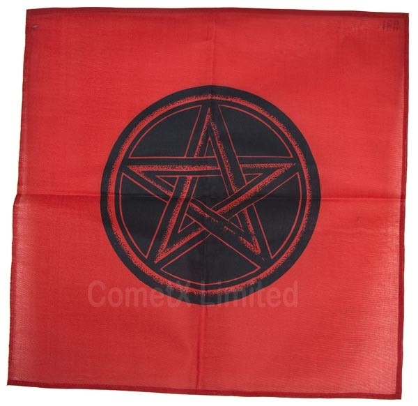Picture of Altar Cloth - Red With Pentacle (44 x 44cm)