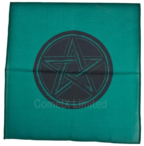 Picture of Altar Cloth - Green With Pentacle (44 x 44cm)