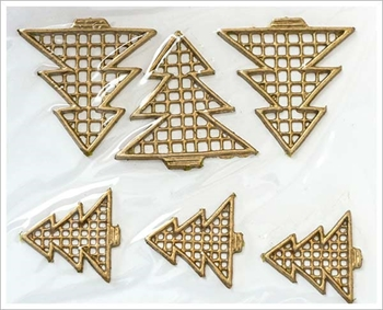 Picture of Applique Wax Christmas Trees (Gold) - Candle Decoration (6)