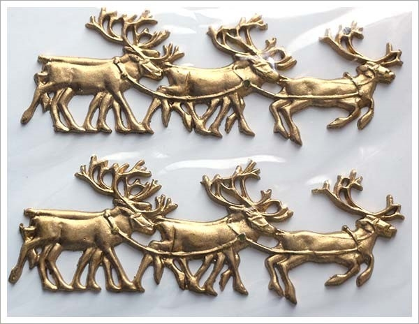 Picture of Applique Wax Reindeer (Gold) - Candle Decoration (2)