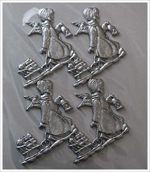Picture of Applique Wax Angel With Sledge (Silver) - Candle Decoration