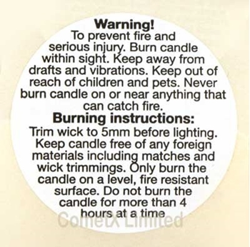 Picture of Candle Safety Labels (Large) - Pack of 25 Labels (English)