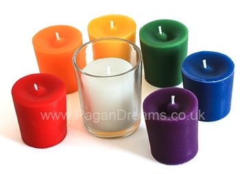 Picture of Chakra Votive Candle Set - With Holder