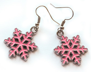 Picture of Snowflake Earrings - Pink Enamel