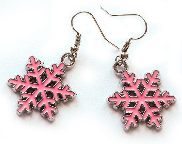 Picture of Snowflake Earrings - Pink Enamel