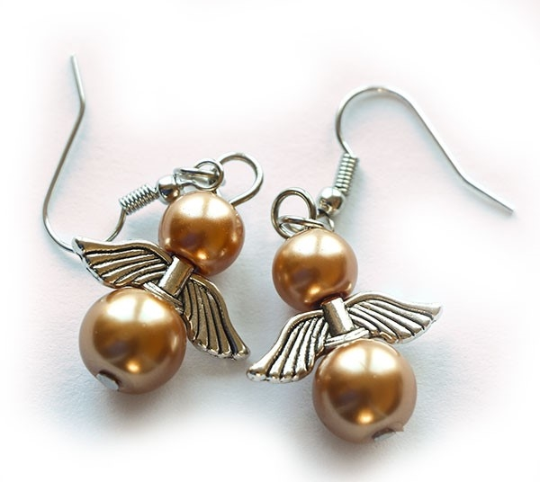 Picture of Angel Earrings - Gold Pearl