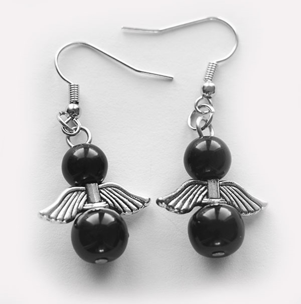 Picture of Angel Earrings - Black Pearl