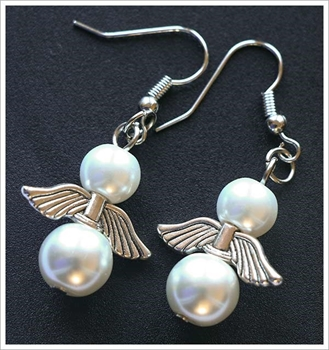 Picture of Angel Earrings - White Pearl