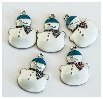 Picture of Snowman (Tubby) Charm - Blue Enamelled (Pk 5)