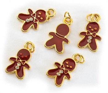 Picture of Gingerbread Man Charm - Enamelled (Pk 5)