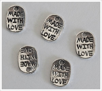 Picture of Made with Love Charm (Oval) -  Pk 20