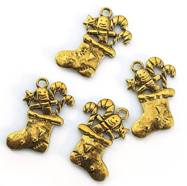 Picture of Christmas Stocking Charm - Antique Gold (Pk 10)