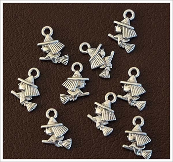Picture of Miniature Witch On Broomstick Charm - Pk 20