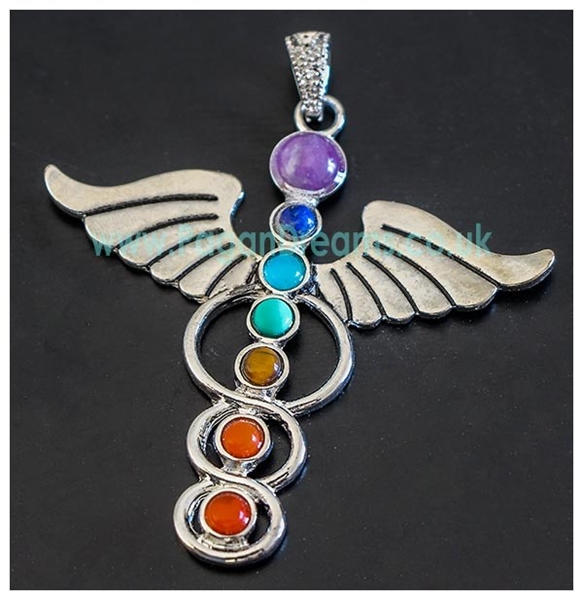 Picture of Caduceus Pendant (with Gemstones) - Large