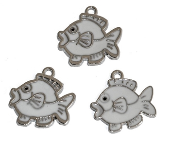 Picture of Fish Charm (White Enamelled) - Pk 10