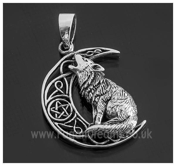 Picture of Howling Wolf And Crescent Moon Pendant - Sterling Silver