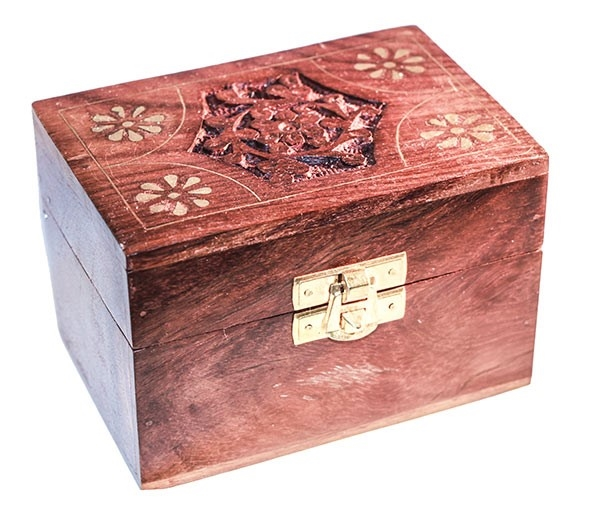 Picture of Carved Wooden Box (Brass Trim) - Holds 6 Essentail Oils