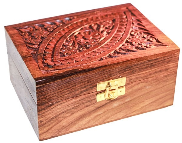 Picture of Carved Wooden Box (Plain) - Holds 12 Oils