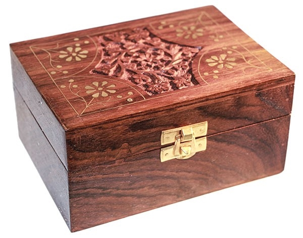 Picture of Carved Wooden Box (Brass Trim) - Holds 12 Essential Oils