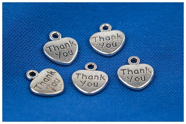 Picture of Heart Charm - Thank You (Metal) Pk 20