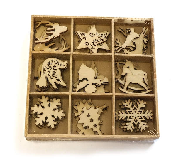 Assorted Wooden Christmas Shapes Picture
