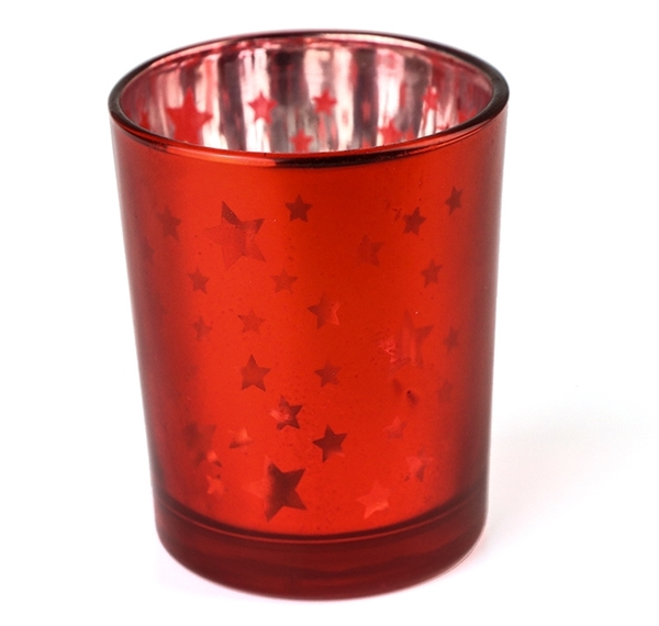 Red Metallic Star Candle Holder Image