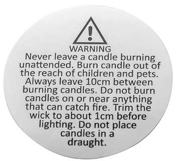Candle Safety Warning Labels 50mm  Image