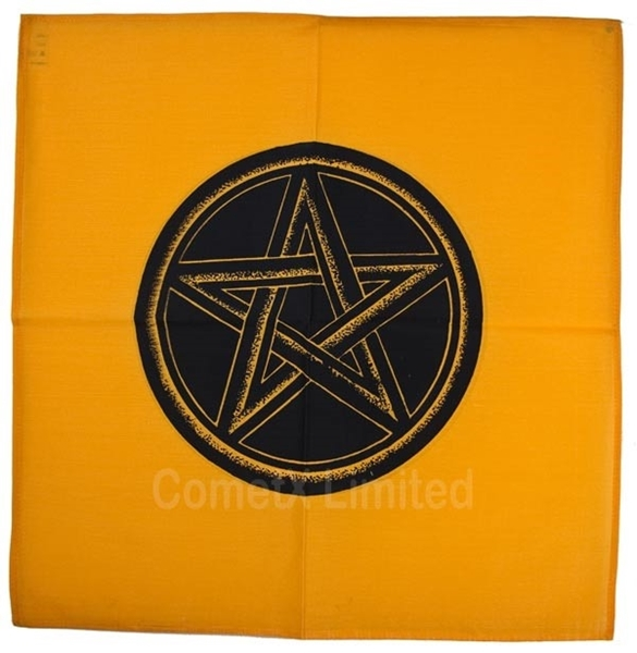 Picture of Altar Cloth - YellowOrange With Pentacle (44 x 44cm)SYL