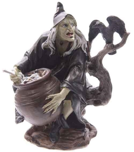 Witch and cauldron figurine image